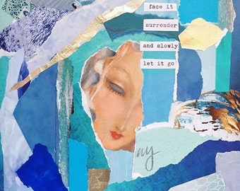 Face It Surrender And Slowly Let It Go Note Card, Art Postcard, Greeting card, Mixed Media, Collage