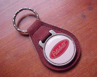 1970s Peterbilt Big Rig Logo Dark Red Suede Key Fob  Cool Rare Collectible Semi Truck Driver 18 Wheel Trucker Keep On Truckin CB Radio