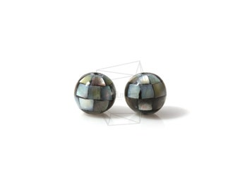 PEA-007-G/4PCS/ Mother of Pearl Mosaic round ball/10mm/Mother of Pearl ball beads