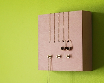 Minimalist jewelry display wall mount necklace organizer pink jewellery holder storage rack brass modern housewarming gift - PERCH no1 PINK