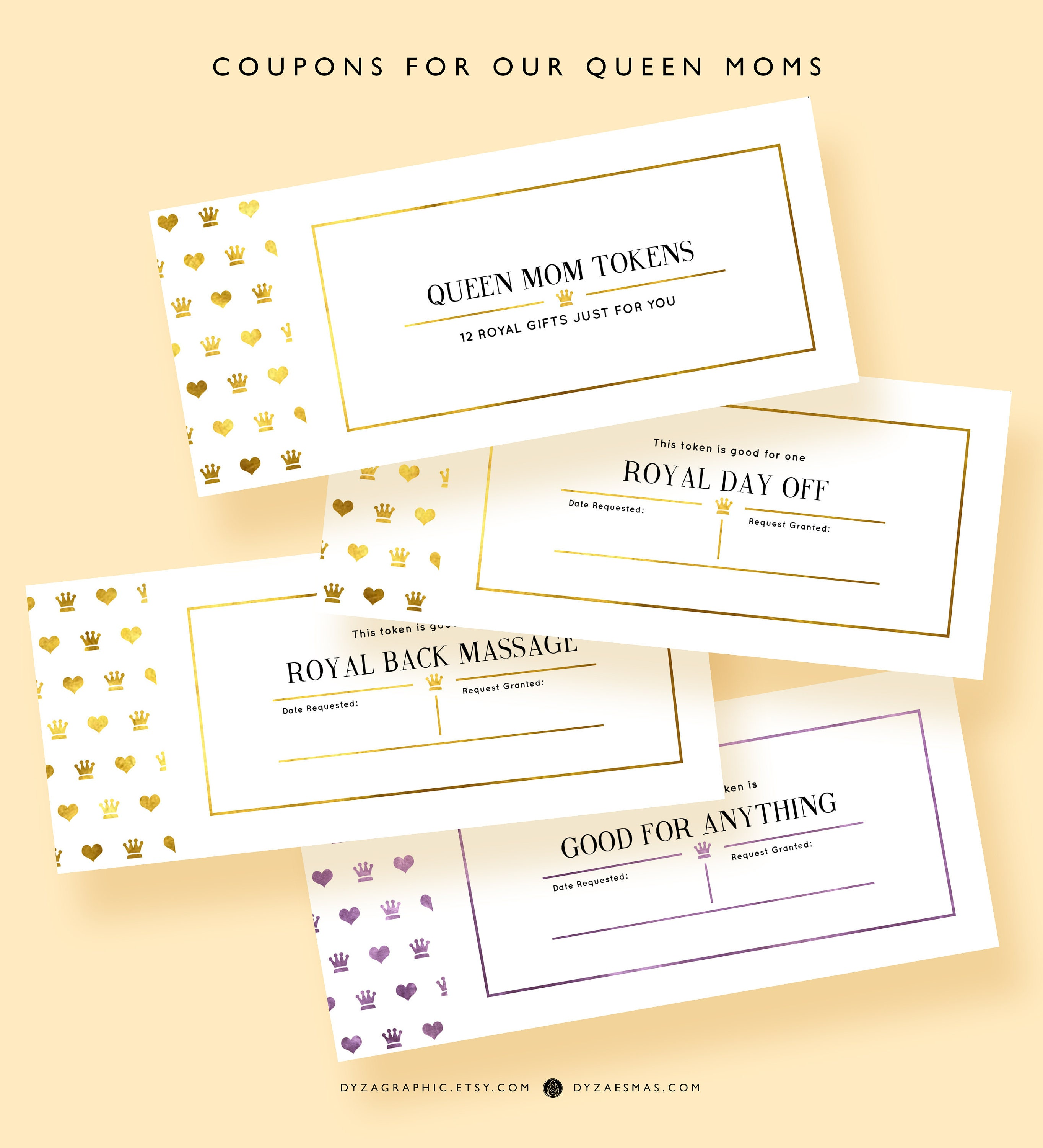 PRINTABLE Mothers day Coupons Book Queen Mom Coupons Sweet