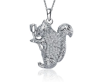 Squirrel Necklace, Sterling Silver (M0011)