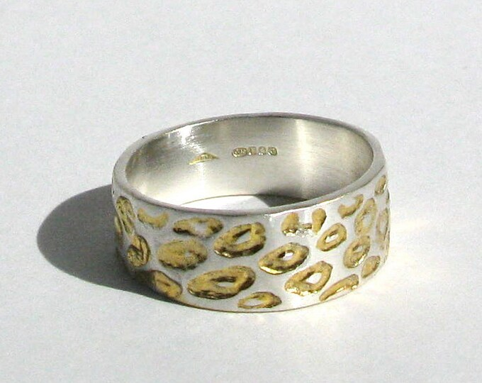 Wide Leopard Ring with Yellow Gold Detail