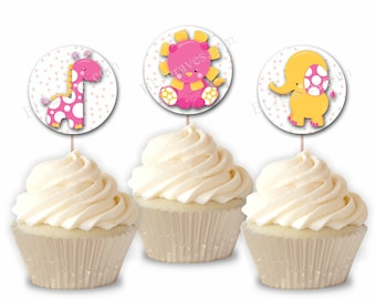 Baby Shower Birthday Cupcake Toppers, Giraffe Lion Elephant Birthday Party or Food Picks, Set of 12  CT016