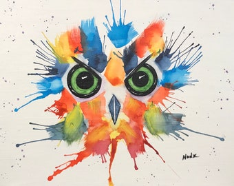 Original watercolor, owl, abstract owl, 9x12 on canvas panel.