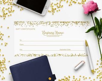 Gift Certificate Printable - Gift Certificate Download - Printable Gift Certificate  Gift Certificate Design - Glitter Gold