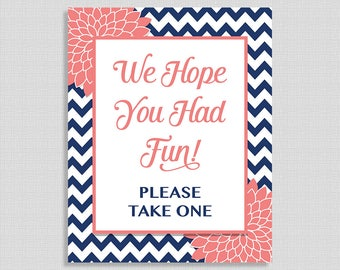 We Hope You Had Fun Please Take One Shower Sign, Navy Coral Mums, Floral Favor Sign,  Neutral, INSTANT PRINTABLE