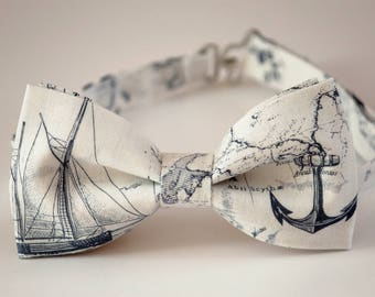 Nautical map bowtie, boat bow tie, nautical bow tie, map print cotton tie, sailboat bowtie, boys bow tie, mens bow tie, mens map bow tie