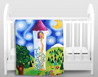 Fleece Blanket - Rapunzels Tower - Girls Nursery Decor - Kids Bedding