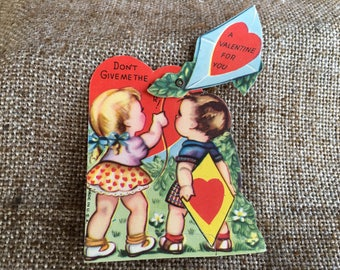 NOS Vintage USA Litho Printed Mechanical Valentine Card, Boy and Girl Flying a Kite, Kite Flies in the Air, with Original Envelope