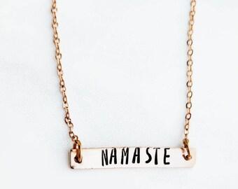 Namaste Necklace - Inspirational Necklace - Rose Gold Necklace - Rose Gold Bar Necklace - Yoga Necklace - Yoga Jewelry - Stamped Bar Jewelry