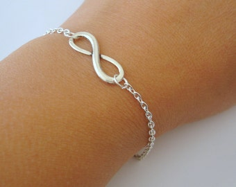 4 Bridesmaid Infinity Bracelets - Set of 4 Infinity Bracelets, 4 Infinity Charm Bracelets