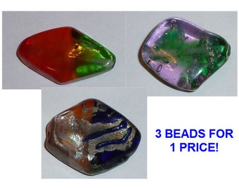 Super Sale - Trio of Abstract Lozenge X-Large Lampwork Beads!