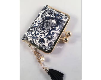 Navy Blue & White Paisley Print Faux Leather Credit Card Holder / Mini Wallet S011