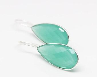 Earrings Silver plated mint Turquoise Aqua