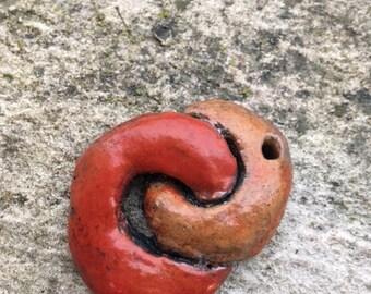 Red and yellow Raku pendant