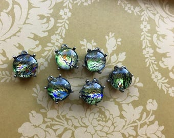 Vintage Charms Emerald Harlequin Opal Round Filigree Antique Silver Ox #34BX