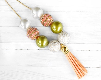 Coral and Green Tassel Necklace, Spring Chunky Necklace, Chain Tassels, Toddler Necklace, Kids Jewelry, Baby Necklace, Womens Jewelry
