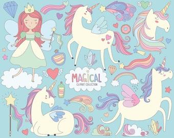 Magical Unicorns Clipart - Unicorn Clipart, Cute Magical Clip Art Collection, Princess Clipart, Whimsicle Illustration