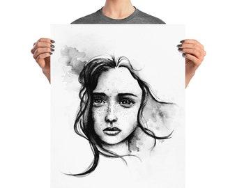"""Misty"""" Watercolor Art Print - Watercolor Portrait Print - Female Portrait Art - Black White Artwork - Female Portrait - Monochrome Painting"""