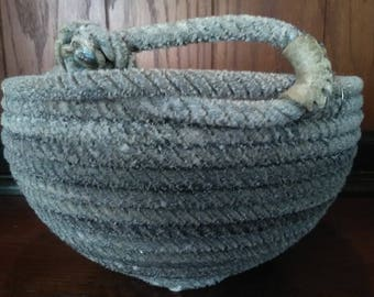 Hand crafted lariat rope used by Montana cowboys, centerpiece bowl