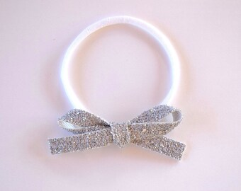 Grey Glitter Bow Headband OSFA nylon elastic Adorable Photo Prop for Newborn Baby Little Girl Child Adult Headwrap Pretty Spring Summer Bow
