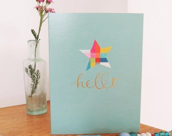 Star Mini Greetings Card | hello | star card | any occasion card | blank inside