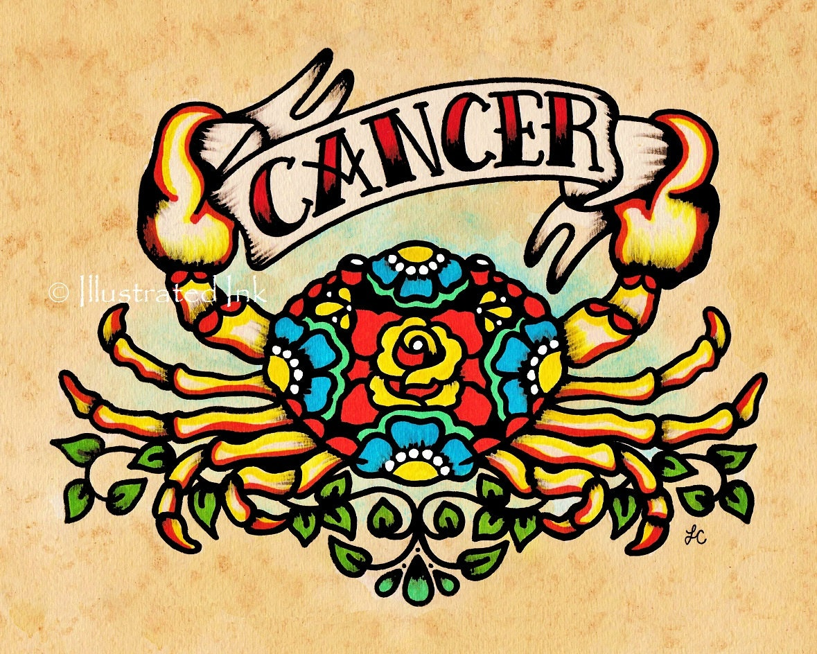 CANCER Zodiac Print Tattoo Art Crab Astrology Sign 5 x 7 8 x