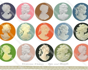 Victorian Cameos 1 Inch Circles Collage Sheet for Bottle Caps, Hair Bows, Scrapbooks, Crafts, Jewelry & More