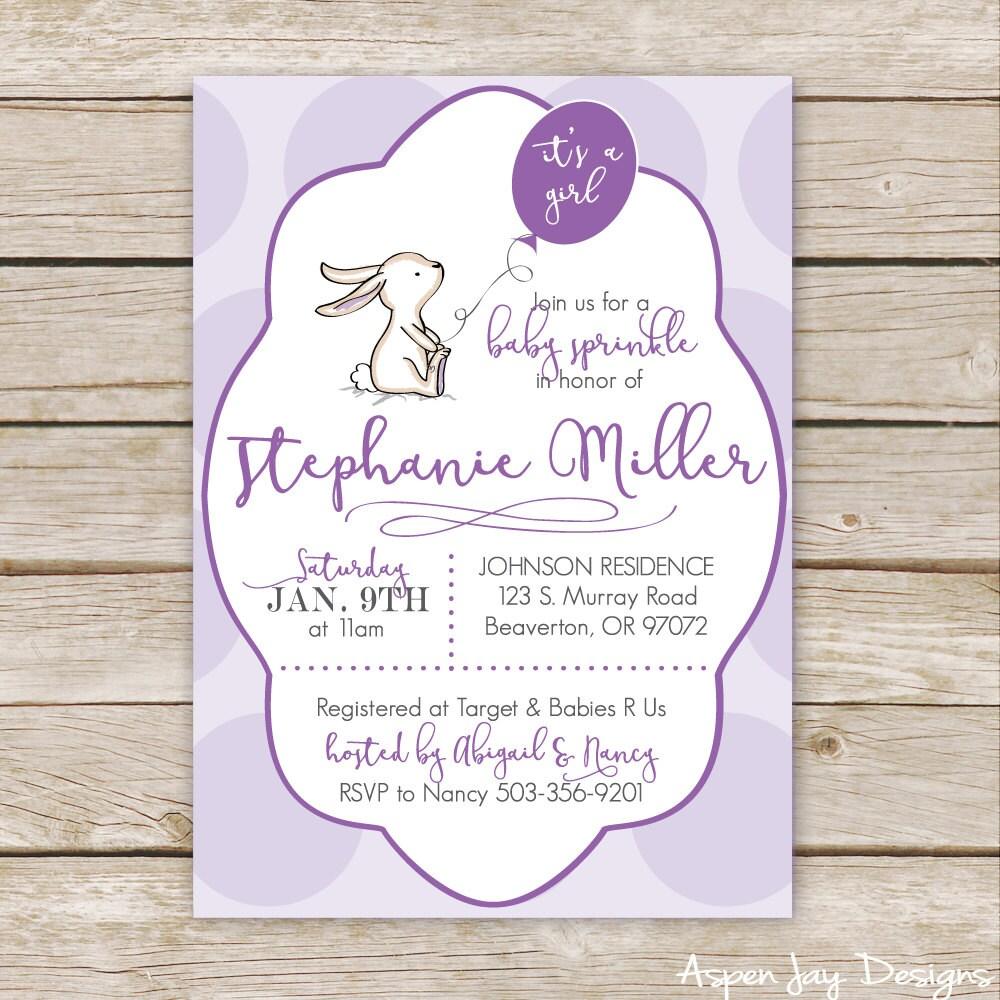 Purple Bunny Baby Shower Invites Girl Baby Shower
