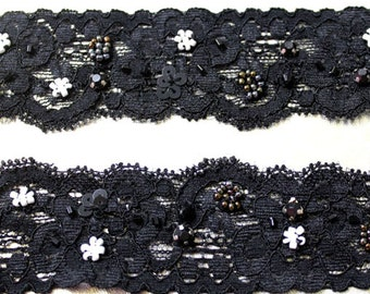 3 YARDS of Black Stretch Lace Trim with Beads  1.4 ''