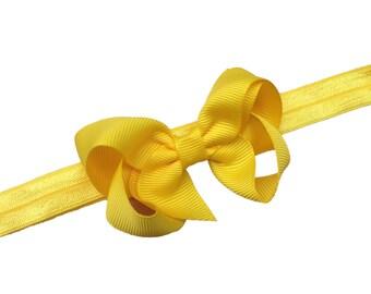 Yellow baby headband - yellow bow headband, newborn headband, baby headband, baby bow headband, baby girl headband, baby headbands