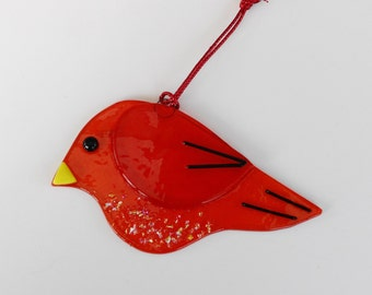 Fused Glass Bird Suncatcher, Red Fused Glass Bird, Garden Art, Red Stained Glass Bird Suncatcher, Red Bird Ornament