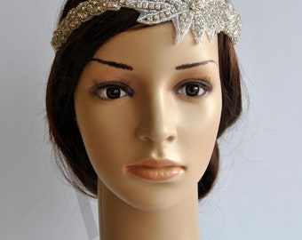 Rhinestone 1920s Headpiece,Flapper Headpiece,1920s and 1930s headpiece,Rhinestone beaded headpiece,The Great Gatsby Headband