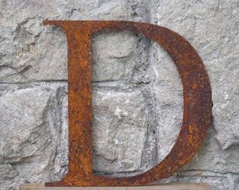 Flat Metal Rusty Letter D / Metal / Letter / Garden / Industrial / Vintage / Rustic / Floral / Gift / Wedding / Home / 25cm