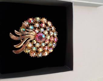 multi coloured rainbow colour brooch