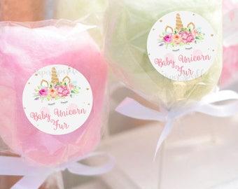 Unicorn favor stickers, unicorn fur,Unicorn party,Unicorn Birthday,Unicorn Party decor,cotton candy,unicorn invitation, candy floss favor