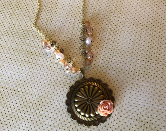 Sante Fe Peach Gold Concho Pendant with Peach Rose and Peachy Czech Glass beads