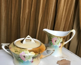 Vintage Meito China Cream and Sugar Set, Floral Pattern, Made in Japan