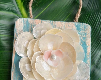 Jingle flower - Beach decor - Seashell rose - Seashell decor - Sanibel decor - Sanibel decoration - Jingle Shells - Teal beach decor
