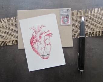 401 : Letterpress Thank You Card, Thank you Card, Thanks Card, Thank you from the bottom of my heart Card