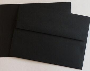 PPE48  Qty of 50 A6 70 lb. Black Paper Envelopes 4 3/4 x 6 1/2 (12.07cm x 16.51cm)