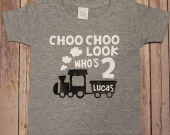 Birthday Shirt choo choo Look Who's Two second birthday train shirt choo choo two shirt train Birthday Kids Birthday Shirts