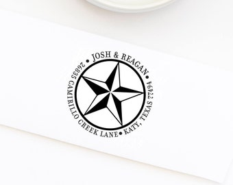 Custom Texas Star Stamp, Return Address Rubber Stamp, Wood Mounted Address Stamp, Self-Inking Address Stamp, Texas Stamp Style No. 34