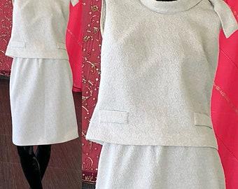 60s Mod Brocade Dress Metallic White Silver Dress Set Small Medium