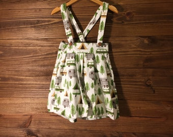 Forest print flannel pinafore