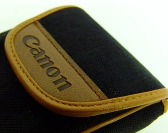 Retro Canon Leather and Fabric Leather Compact Camera Case - Ideal For 35mm Point and Shoots - Black and Tanned Leather
