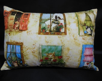 Pillow cover, cats in the window!  vintage tones