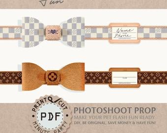 cat bowtie collar, pet bowtie, pet collar, photo prop, dog bowtie collar, cat dog lv collar, printable, id tag, cat party, fashion collar