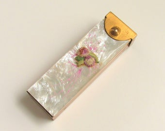 Vintage MOP Floral Lipstick Case Compact Mother of Pearl 1940s 1950s